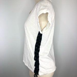 DREAMERS- LACE UP sides white +black v neck top S